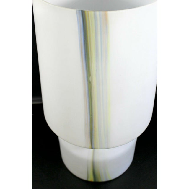 1970s Mid Century Modern Large White Murano Glass Table Lamp 1970s Italy For Sale - Image 5 of 10