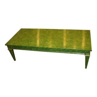 1960s Mid-Century Modern Faux Green Malachite Coffee Table For Sale