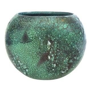 Vintage Mid Century Modern Art Pottery Verdigris Shagreen Style Texture Oval Pillow Ceramic Vase For Sale