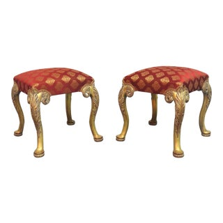 Regency Queen Anne Carved Gilded Stools - a Pair For Sale