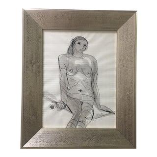 Original Ink & Watercolor Nude Drawing For Sale