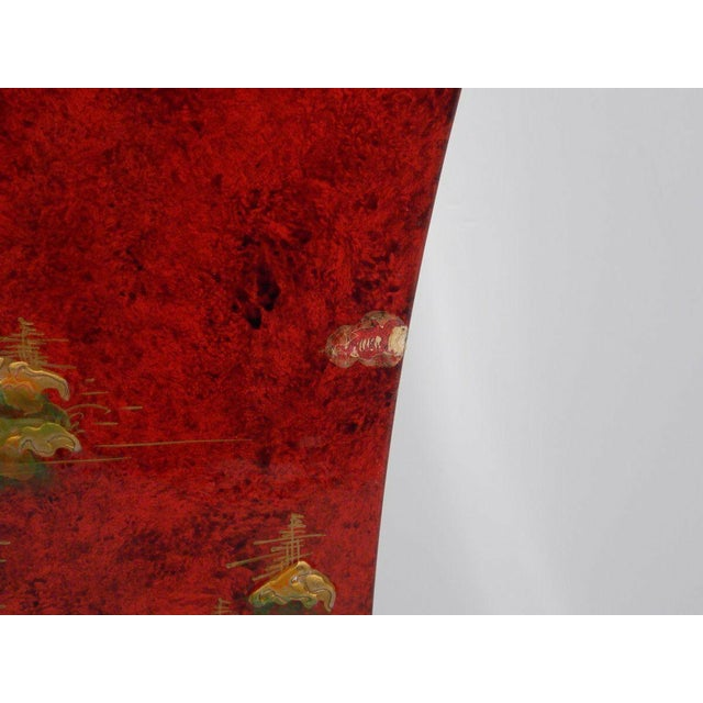 1970's Vintage Red Asian Style Pedestal For Sale - Image 4 of 13