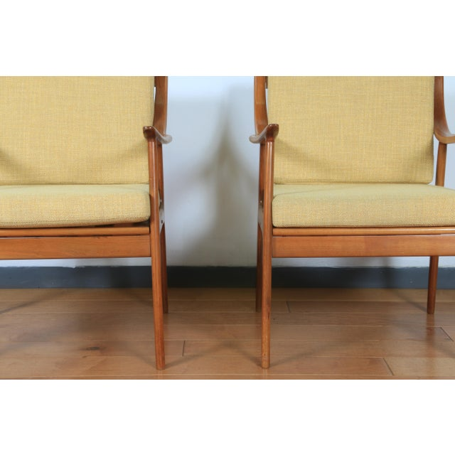 1960s yugoslavia yellow pair of side chairs. Very Comfortable and is in vintage condition. The fabric was reupholstered....