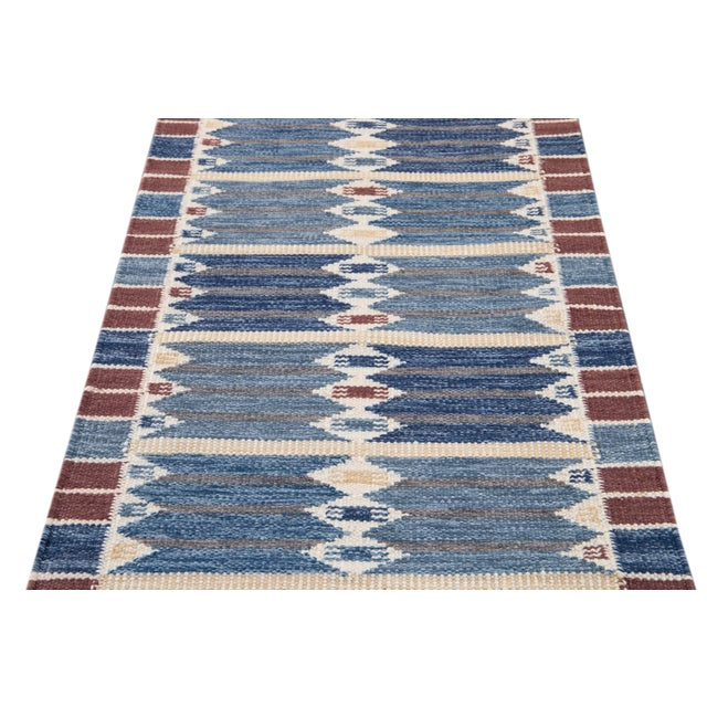 21st Century Modern Swedish Style Wool Runner Rug For Sale - Image 11 of 13