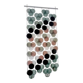 Organic Modern Italian Geometric Black Pink Aqua Murano Glass Curtain or Divider For Sale