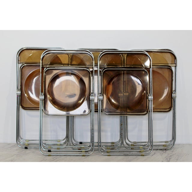 1960s Castelli Mid Century Modern Smoked Lucite Folding Chairs Italy - Set of 10 For Sale - Image 10 of 12