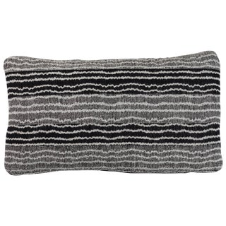 Indian Handwoven Pillow Sm. Ocean Stripe Blk/Wht For Sale