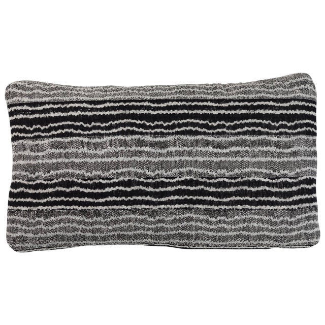 Indian Handwoven Pillow Sm. Ocean Stripe Blk/Wht For Sale
