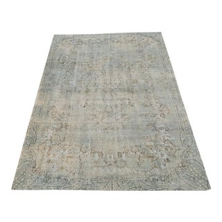 "Vintage Turkish Distressed Blue Gray Wool Rug - 10'2""x6'3"" For Sale"