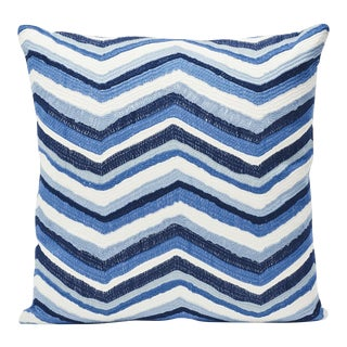 Schumacher Double-Sided Pillow in Shasta Embroidery Textured Print For Sale