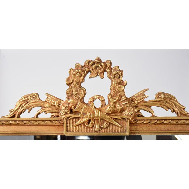 Gold Early 20th Century Matching Pair of Giltwood Hanging Beveled Mirrors For Sale - Image 8 of 11