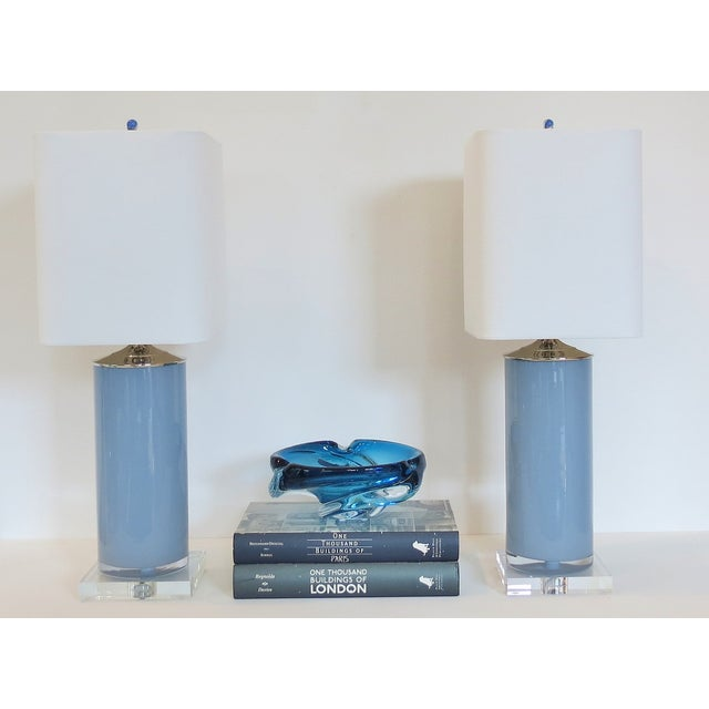 Silver Fox Blue Cylinder Glass Lamps - A Pair - Image 5 of 6