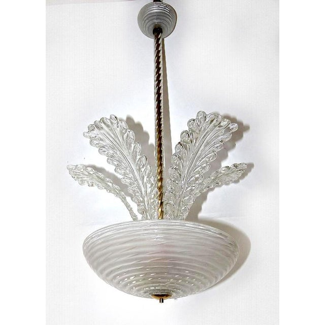 Barovier & Toso 1950s Italian Barovier Murano Glass Leaf Chandelier For Sale - Image 4 of 10