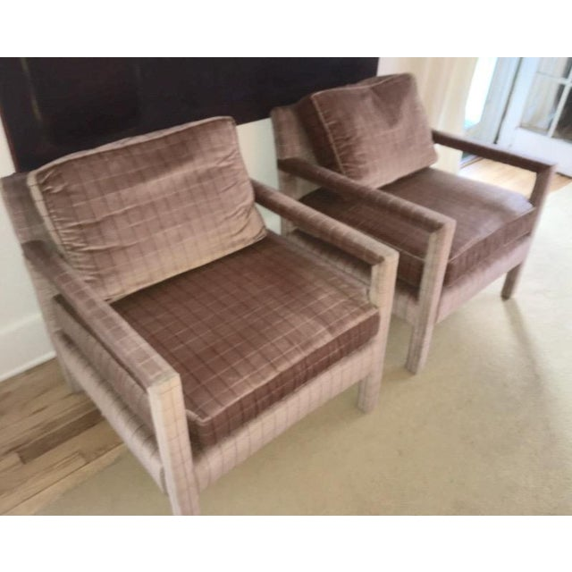 An amazing pair of Milo Baughman style Parsons cube chairs. These chairs have the softest velvet (or similar) fabric....