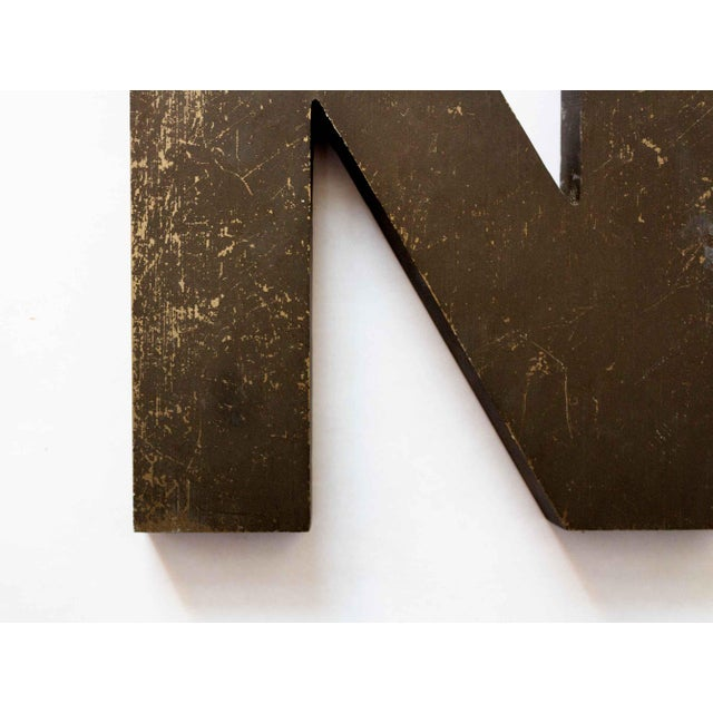 American Industrial Letter N Wall Decor For Sale - Image 3 of 4