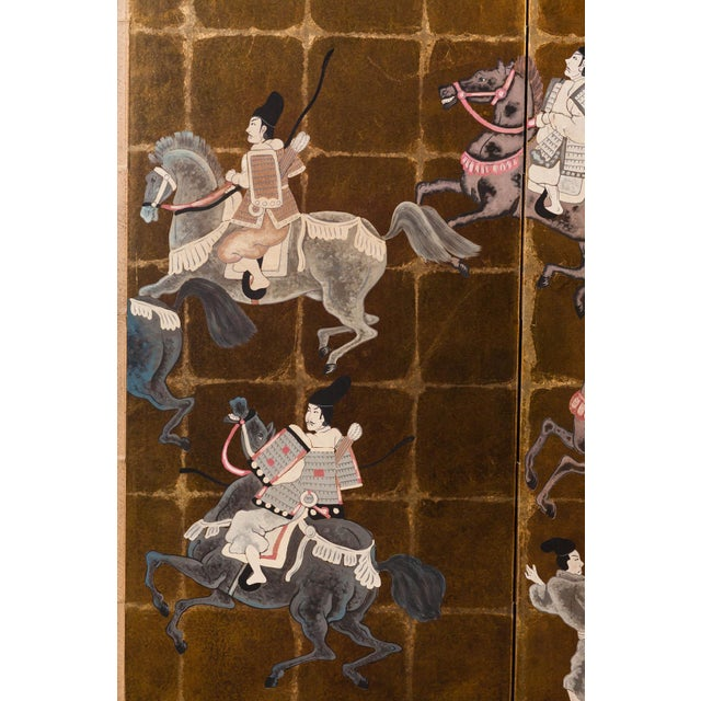 """Japanese """"Samurai Dressed Parade"""" Japanese-Style 6-Panel Ink on Gold Foil Paper Folding Screen by Lawrence & Scott For Sale - Image 3 of 13"""