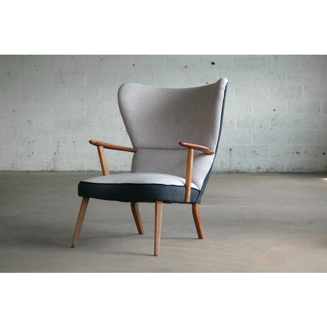 Mid-Century Modern Danish 1950's Lounge Chair Model Pragh With Ottoman by Madsen and Schubell For Sale - Image 3 of 12