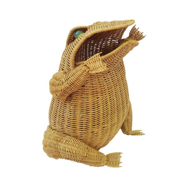 Boho Chic 1970s Vintage Whimsical Rattan Wicker Frog Basket For Sale - Image 3 of 11