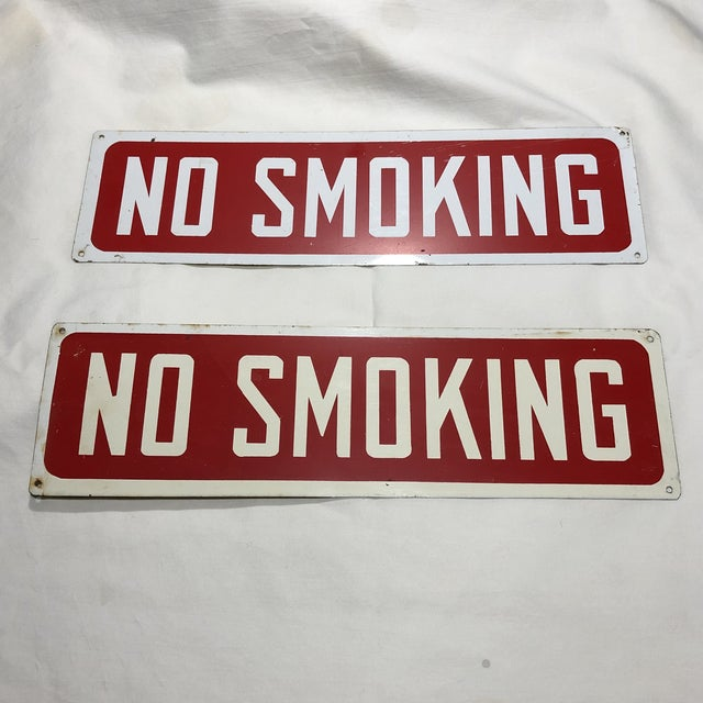 Contemporary Vintage Red & White Enameled No Smoking Signs - a Pair For Sale - Image 3 of 3