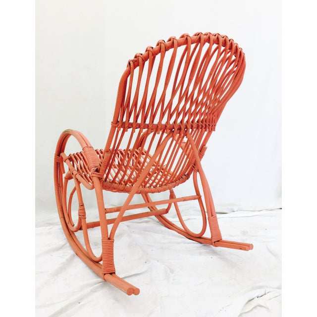 Vintage F. Albini Orange Rattan Rocking Chair - Image 3 of 6