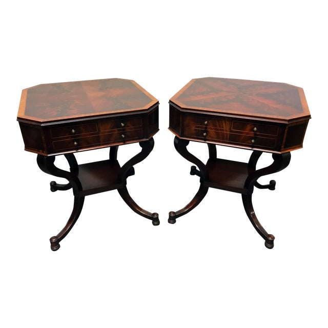 Weiman inlaid flame mahogany 2 tier end side lamp tables a pair weiman inlaid flame mahogany 2 tier end side lamp tables a pair mozeypictures Image collections