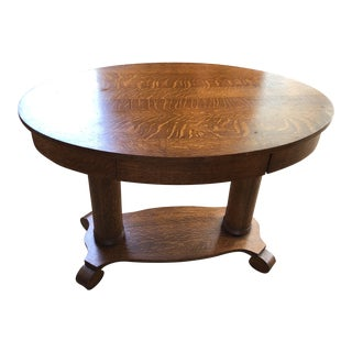 Antique/ Vintage Oval Grecian Feet Tiger Oak Library Table Mersman For Sale