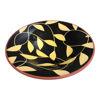 Black and Yellow Pottery Bowl With Clay Color Exterior For Sale