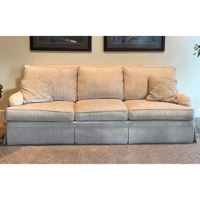 Quality Ethan Allen sofa in a cream color brushed corduroy. Super soft and extra long for comfort and additional seating....