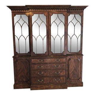 Lloyd Buxton Thomas Mahogany Breakfront China Cabinet For Sale