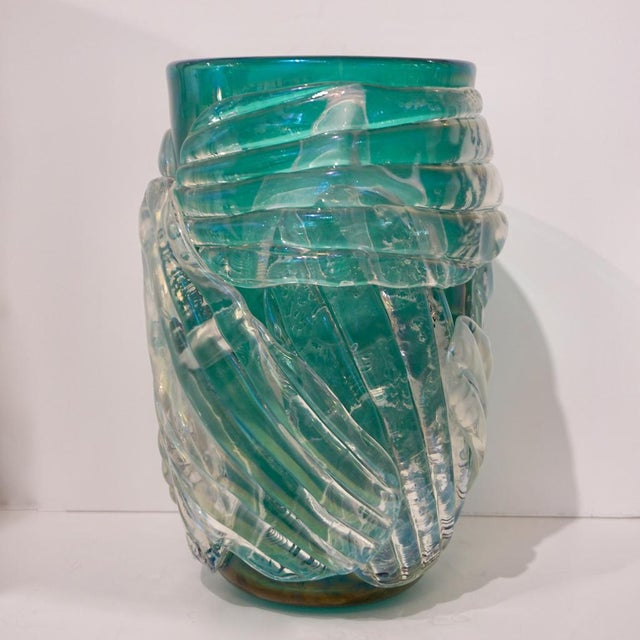 Contemporary Italian Modern Iridescent Emerald Green Murano Glass Sculpture Vases - a Pair For Sale - Image 3 of 12