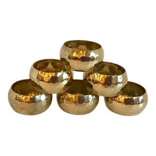 Vintage Brass Hammered Napkin Rings - Set of 6 For Sale