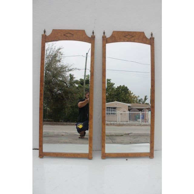 Burlwood & Brass Wall Mirrors - A Pair - Image 5 of 11