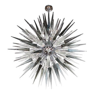 Smoke Grey Handblown Murano Glass Spiked Starburst Chandelier in Polished Nickel For Sale