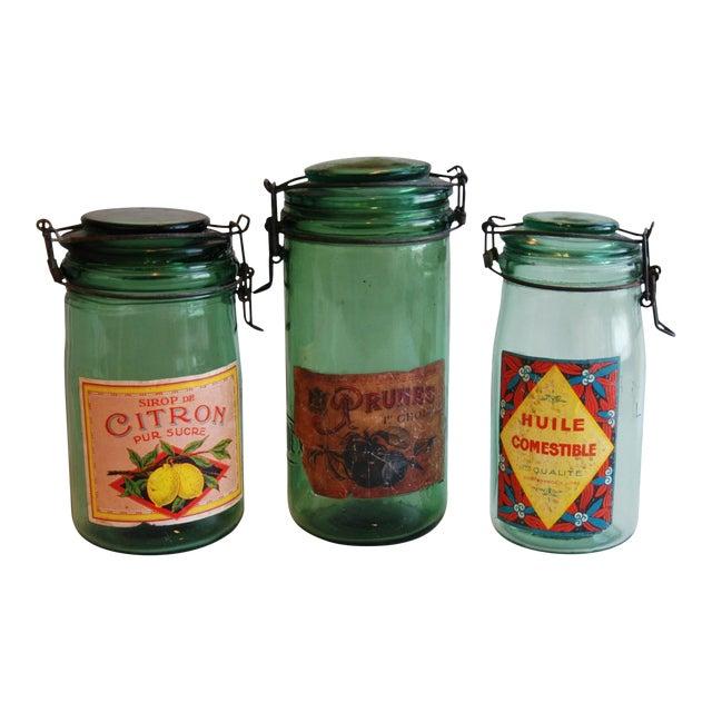 1930s Vintage French Labeled & Lidded Canning Preserve Jars - Set of 3 - Image 1 of 8