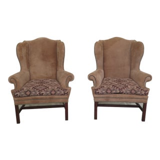 1990s Vintage Ralph Lauren Suede Chippendale Wing Chairs- A Pair For Sale