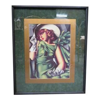 Vintage Art Deco Print of Girl in a Green Dress by Tamara De Lempicka. For Sale