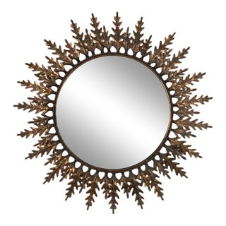 Spanish Copper-Plated Sunburst Mirror For Sale
