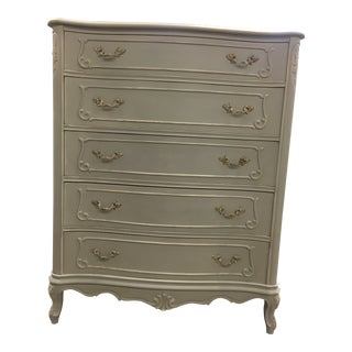 1930s French Provincial Light Gray Harlow Highboy Dresser