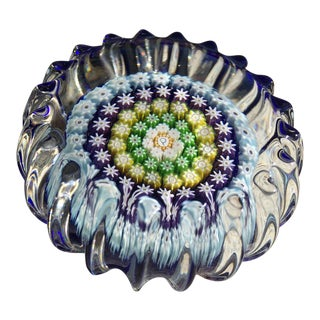 Millefiori Garland Faceted Indigo Floral Paperweight For Sale