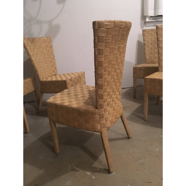 High-Back Wicker Side Chairs - Set of 6 - Image 4 of 5