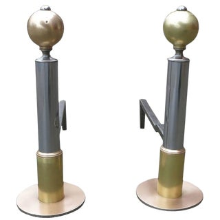 American Art Deco Chrome & Brass Geometric Andirons - a Pair For Sale