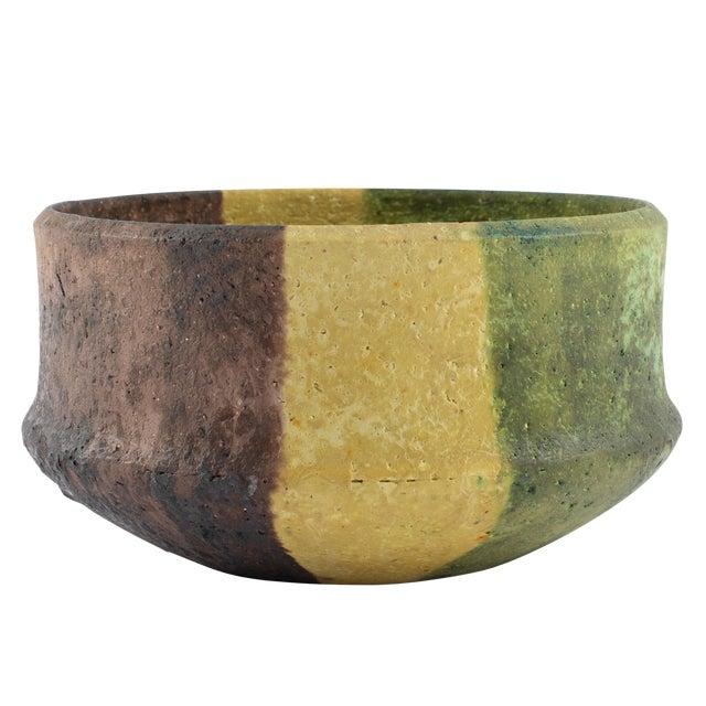 Marcello Fantoni Yellow, Green and Burgundy Ceramic Bowl, Circa 1970s For Sale