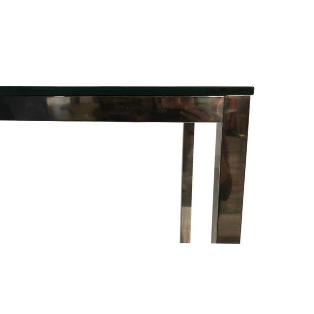 Mid-Century Modern 1960s Milo Baughman Style Mid Century Black Glass Chrome Writing Desk For Sale - Image 3 of 4