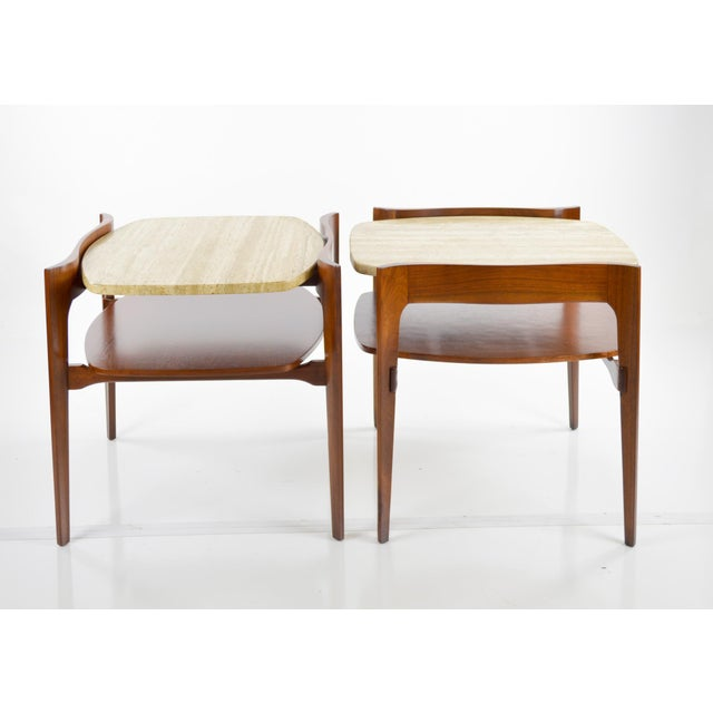 Travertine & Walnut Modern Side Tables - Pair by Bertha Schaefer - Image 11 of 11
