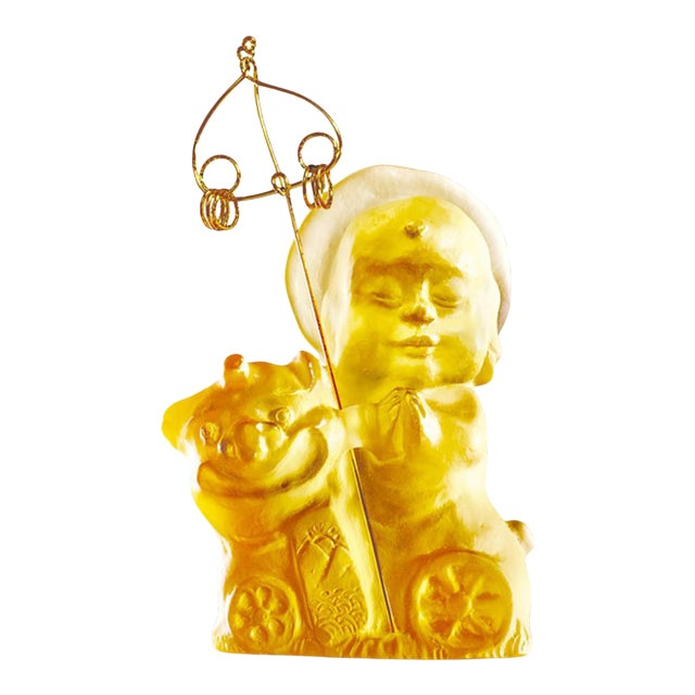 """Crystal Buddha, """"Joyous and Worry-Free, Safe Travels"""" in Amber For Sale"""