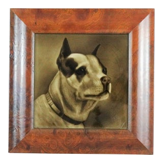 Antique Terrier Dog Painted Tileby G Cartlidge For Sale