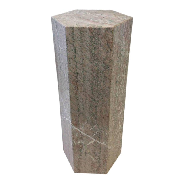 Hexagonal Shape Polished Blush Pink Marble Pedestal For Sale