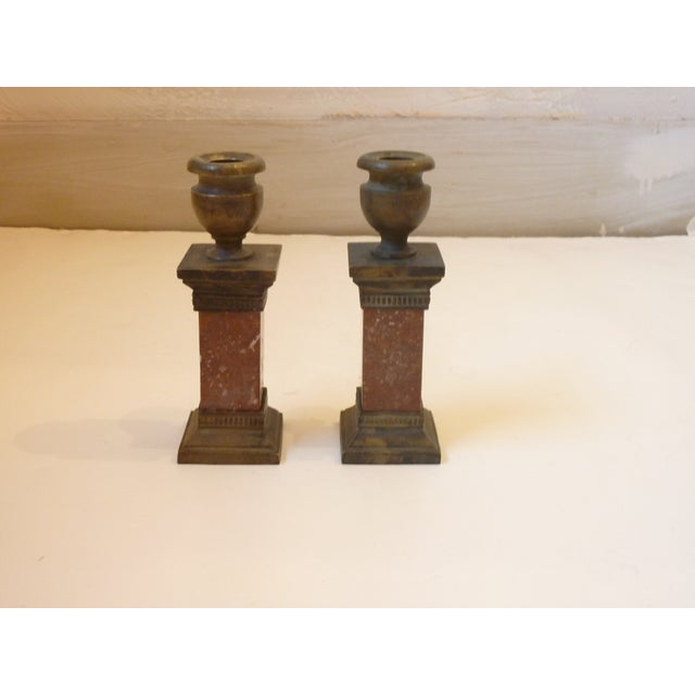 Late 19th Century Late 19th Century Vintage Neoclassical Style Candle Holders- A Pair For Sale - Image 5 of 5