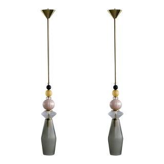 Multicolor Murano Glass Pendants - a Pair For Sale