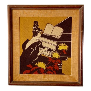 Midcentury Crewelwork Needlepoint Woman Playing Piano For Sale